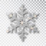 Ασημένιο snowflake που απομονώνεται σε ένα διαφανές υπόβαθρο Η διακόσμηση Χριστουγέννων, καλυμμένος φωτεινός ακτινοβολεί Το ασήμι διανυσματική απεικόνιση