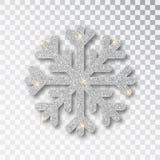 Ασημένιο snowflake που απομονώνεται σε ένα διαφανές υπόβαθρο Η διακόσμηση Χριστουγέννων, καλυμμένος φωτεινός ακτινοβολεί Το ασήμι ελεύθερη απεικόνιση δικαιώματος