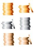Ασημένιων και χρυσών σωροί χαλκού, διανυσματική απεικόνιση