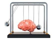 Ασθένεια εγκεφάλου ή καταστροφή, έννοια απώλειας μνήμης Λίκνο Newton με τον εγκέφαλο τρισδιάστατη απόδοση διανυσματική απεικόνιση