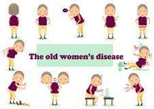 ασθένεια ηλικιωμένης γυναίκας διανυσματική απεικόνιση