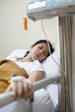 Ασθενής και IV μηχανή σταλαγματιάς Στοκ Φωτογραφίες