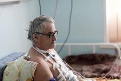 Ασθενής μετά από τη χειρουργική επέμβαση καρδιών Στοκ Φωτογραφίες
