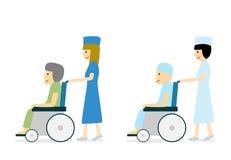Ασθενής με καρκίνο στην αναπηρική καρέκλα και νοσοκόμα, διάνυσμα ελεύθερη απεικόνιση δικαιώματος