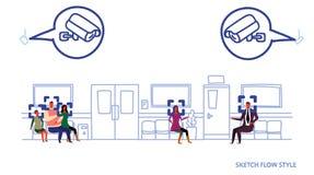 Ασθενείς που περιμένουν τον του προσώπου διάδρομο νοσοκομείων συστημάτων κάμερων ασφαλείας έννοιας αναγνώρισης CCTV παρακολούθηση διανυσματική απεικόνιση