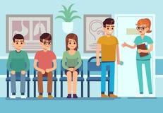 Ασθενείς στη αίθουσα αναμονής γιατρών Οι άνθρωποι περιμένουν τον επαγγελματικό Υπηρεσία Ασθενοφόρων Οχημάτων νοσοκομείων διαδρόμω απεικόνιση αποθεμάτων