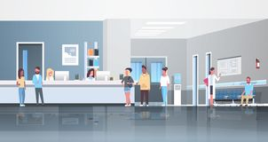 Ασθενείς φυλών μιγμάτων που στέκονται τη σειρά αναμονής γραμμών στην περιμένοντας έννοια υγειονομικής περίθαλψης διαβουλεύσεων γι διανυσματική απεικόνιση