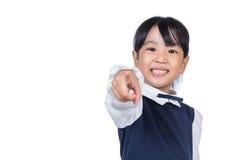 Ασιάτης λίγο κινεζικό κορίτσι που δείχνει με το δάχτυλο Στοκ Φωτογραφίες