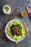 Ασιάτης ανακατώνει το τηγανισμένο συκώτι κοτόπουλου με το κύπελλο του ρυζιού και του πράσινου τσαγιού Στοκ Εικόνες