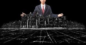 Ασιατικά άτομο και σχέδιο της σύγχρονης οικοδόμησης κτηρίου στο Μαύρο Στοκ φωτογραφία με δικαίωμα ελεύθερης χρήσης
