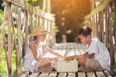 Ασιατικά αγόρια και κορίτσια που διαβάζουν ένα βιβλίο στην παλαιά γέφυρα Στοκ Εικόνες