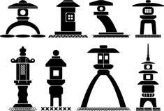 Ασιατικά εικονίδια φαναριών διανυσματική απεικόνιση