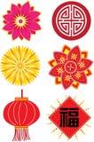 Ασιατικά διακοσμητικά εικονίδια καθορισμένα ελεύθερη απεικόνιση δικαιώματος