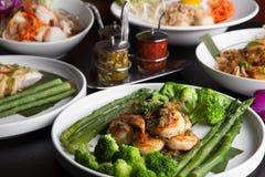 Ασιατικά πιάτα Scampi γαρίδων Στοκ Εικόνες