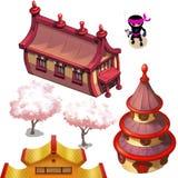 Ασιατικά σπίτια (ιαπωνικό ή κινεζικό χωριό) στοκ φωτογραφίες