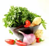 Ασιατικά συστατικά τροφίμων (πιπερόριζα, τσίλι, κορίανδρο και σκόρδο) Στοκ Εικόνα