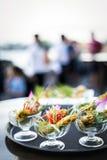 Ασιατικά τρόφιμα πρόχειρων φαγητών κοτόπουλου satay γαστρονομικά στο σύγχρονο υπαίθριο φραγμό Στοκ Εικόνες