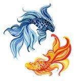 Ασιατικά goldfishes Watercolor Στοκ Εικόνες