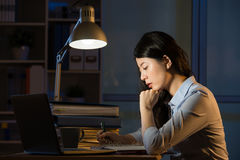 Ασιατικές υπερωρίες εργασίας lap-top χρήσης επιχειρησιακών γυναικών αργά - νύχτα Στοκ Εικόνες