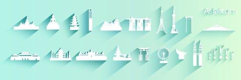 Ασιατική αρχιτεκτονική ταξιδιού του συνόλου εικονιδίων στοκ εικόνες
