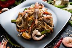 Ασιατική γαρίδα θαλασσινών διατροφής θρεπτικών τροφίμων κουζίνας Στοκ Εικόνες