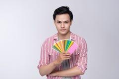 Ασιατική γραφική παλέτα χρώματος εκμετάλλευσης σχεδιαστών πέρα από το γκρίζο backgroun Στοκ Φωτογραφίες