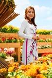 Ασιατική γυναίκα ομορφιάς που φορά τον εθνικό παραδοσιακό ιματισμό, Vietna Στοκ Φωτογραφίες