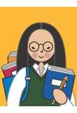 ασιατική γυναίκα σπουδ&alp διανυσματική απεικόνιση
