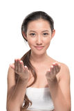 Ασιατική γυναίκα στο άσπρο υπόβαθρο Στοκ εικόνα με δικαίωμα ελεύθερης χρήσης