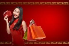 Ασιατική γυναίκα στο φόρεμα cheongsam Στοκ Εικόνες