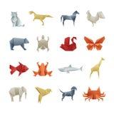 Ασιατική δημιουργική διανυσματική τέχνη ζώων εγγράφου Origami διανυσματική απεικόνιση
