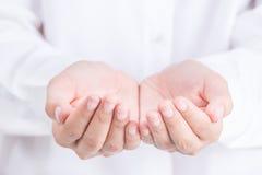 Ασιατική εκμετάλλευση χεριών γυναικών κάτι κενό Στοκ Φωτογραφία