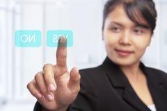 Ασιατική επιχειρηματίας και προαιρετική δυνατότητα Στοκ Εικόνες