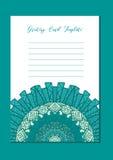 Ασιατική κάρτα προτύπων Mandala Στοκ Εικόνες