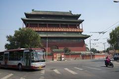 Ασιατική Κίνα, Πεκίνο, αρχαία αρχιτεκτονική, ο πύργος τυμπάνων Στοκ εικόνες με δικαίωμα ελεύθερης χρήσης