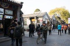 Ασιατική Κίνα, Πεκίνο, εμπορική οδός παρόδων Nanluogu, αλέα, Στοκ φωτογραφίες με δικαίωμα ελεύθερης χρήσης