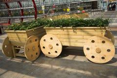 Ασιατική Κίνα, Πεκίνο καρναβάλι, γεωργία, το ξύλινο κάρρο Στοκ Φωτογραφία