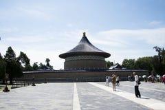 Ασιατική Κίνα, Πεκίνο, πάρκο Tiantan, ο αυτοκρατορικός υπόγειος θάλαμος του ουρανού, ιστορικά κτήρια Στοκ Φωτογραφίες