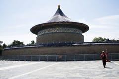 Ασιατική Κίνα, Πεκίνο, πάρκο Tiantan, ο αυτοκρατορικός υπόγειος θάλαμος του ουρανού, ιστορικά κτήρια Στοκ Εικόνες