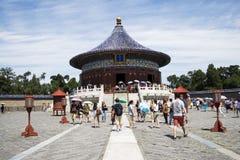 Ασιατική Κίνα, Πεκίνο, πάρκο Tiantan, ο αυτοκρατορικός υπόγειος θάλαμος του ουρανού, ιστορικά κτήρια Στοκ Φωτογραφία