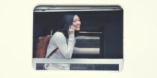 Ασιατική κυρία Traveling Commute Train Concept Στοκ Εικόνες
