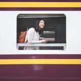 Ασιατική κυρία Traveling Commute Train Concept Στοκ φωτογραφίες με δικαίωμα ελεύθερης χρήσης