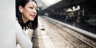 Ασιατική κυρία Traveling Commute Train Concept Στοκ Φωτογραφίες