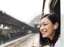 Ασιατική κυρία Traveling Commute Train Concept Στοκ εικόνες με δικαίωμα ελεύθερης χρήσης