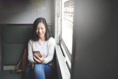Ασιατική κυρία Traveling Commute Train Concept Στοκ Εικόνα