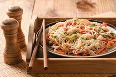 Ασιατική σαλάτα με τα νουντλς και τα λαχανικά ρυζιού Στοκ Εικόνα