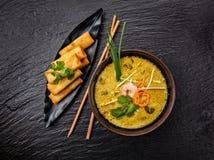 Ασιατική σούπα του Kari με τους ρόλους και chopsticks άνοιξη Στοκ εικόνα με δικαίωμα ελεύθερης χρήσης