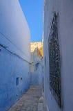 Ασιατική στενή οδός με τα μπλε σπίτια σε Medina, Hammamet Τυνησία Στοκ εικόνες με δικαίωμα ελεύθερης χρήσης