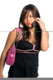 ασιατική τηλεφωνική γυναίκα κυττάρων Στοκ φωτογραφία με δικαίωμα ελεύθερης χρήσης