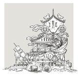Ασιατική φαντασία τέχνης γραμμών ναών τροφίμων Στοκ Φωτογραφία